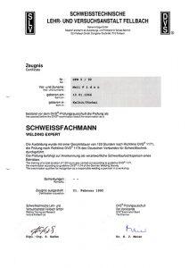 Schweisser Fachmann Zertifikat