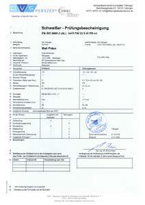 Prüfungsbescheinigung EN ISO 9606-2 141 FW 23 t05,0 PB ml