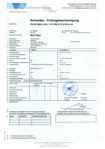 Prüfungsbescheinigung EN ISO 9606-2 141 P BW 23 S t05,0 PA ss nb