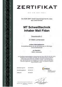 Zertifikat - ISO 9001 - Schweissen